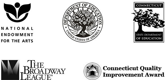 Education Logos - National Endowment for the Arts, Department of Education, Connecticut State Department of Education, The Broadway League, and Connecticut Quality Improvement Awards